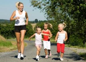 Joggen in Familie
